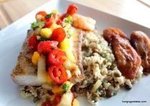 Grilled-Mahi-Mahi-Mango-Salsa-with-Rice-and-Peas-and-Plantains